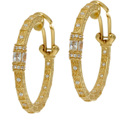 Judith Ripka 14K Clad Diamonique Estate Style Hoop Earrings