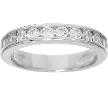 Diamonique 0.75 cttw Channel Set Band Ring, Sterling