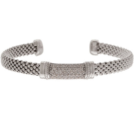 Diamonique Mesh Station Cuff Sterling
