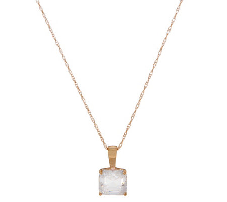 Diamonique 2.00 ct Asscher Solitaire Pendant, 14K Gold