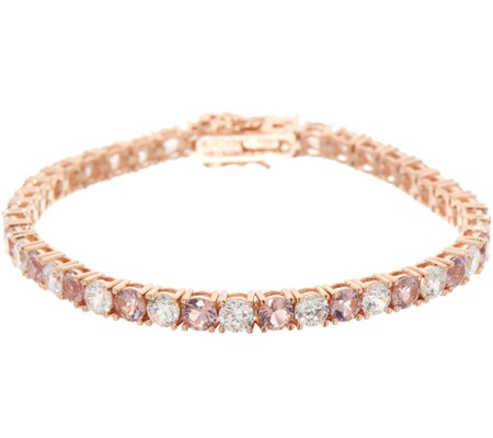 Diamonique and Simulated Morganite Tennis Bracelet 14K Rose Clad