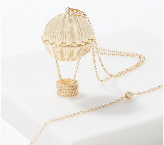 Dream Locket Necklace Locket Necklace clip-HZ00303 Air balloon Antique Travel Hot Air Balloon Golden Locket Necklace jewelry Fashion Hot Air Balloon