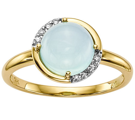 14K Blue Chalcedony and Diamond Accent Ring