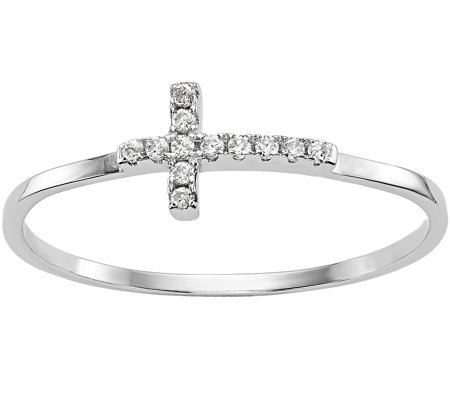 Sterling Sideways Crystal Cross Ring by SilverStyle