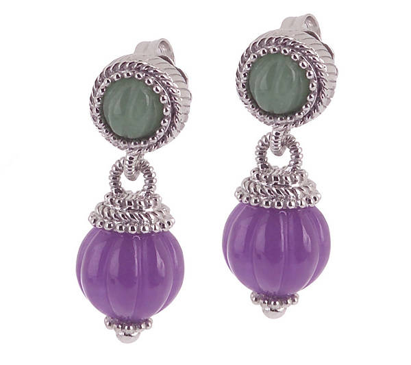 gold gem jewelry natural drop jade post dangle women plated item gift earrings lavender purple wholesale