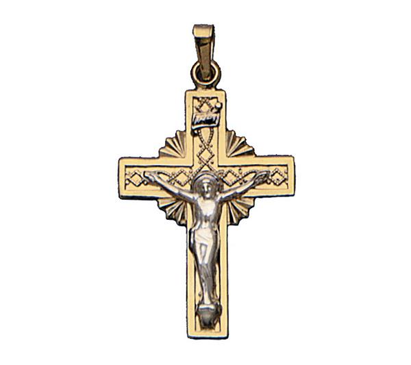14k gold sunburst cross pendant with crucifix qvc aloadofball Gallery