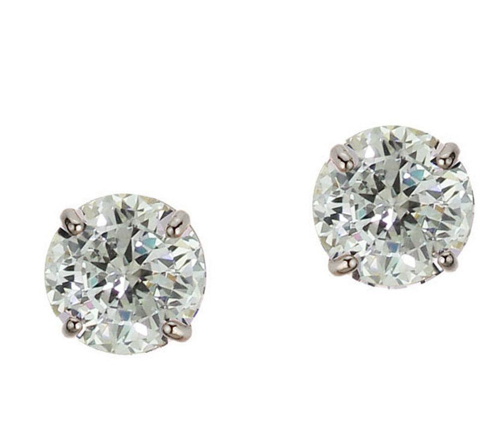 Diamonique 1 50 ct tw 100 Facet Stud Earrings 1 4K Gold Page 1