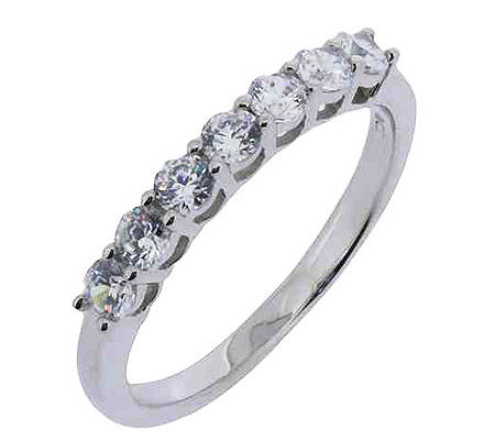 diamonique 7 stone anniversary band ring platinum clad page 1 qvccom - Qvc Wedding Rings