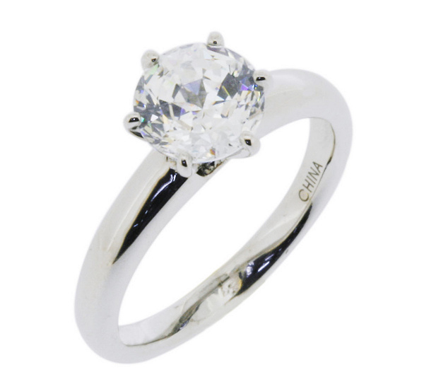 diamonique 200 cttw 100 facet solitaire ringplatinum clad j112404 - Diamonique Wedding Rings