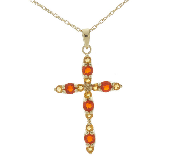 055 ct tw fire opal and citrine cross pendant with chain 14k gold 055 ct tw fire opal and citrine cross pendant with chain 14k gold qvc aloadofball Gallery