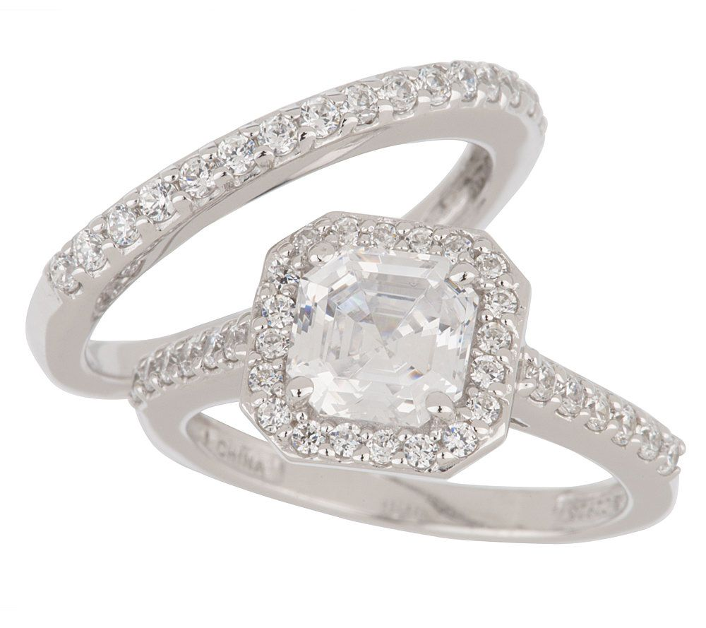 Epiphany Platinum Clad Diamonique 2pc Asscher Cut Ring Set Page