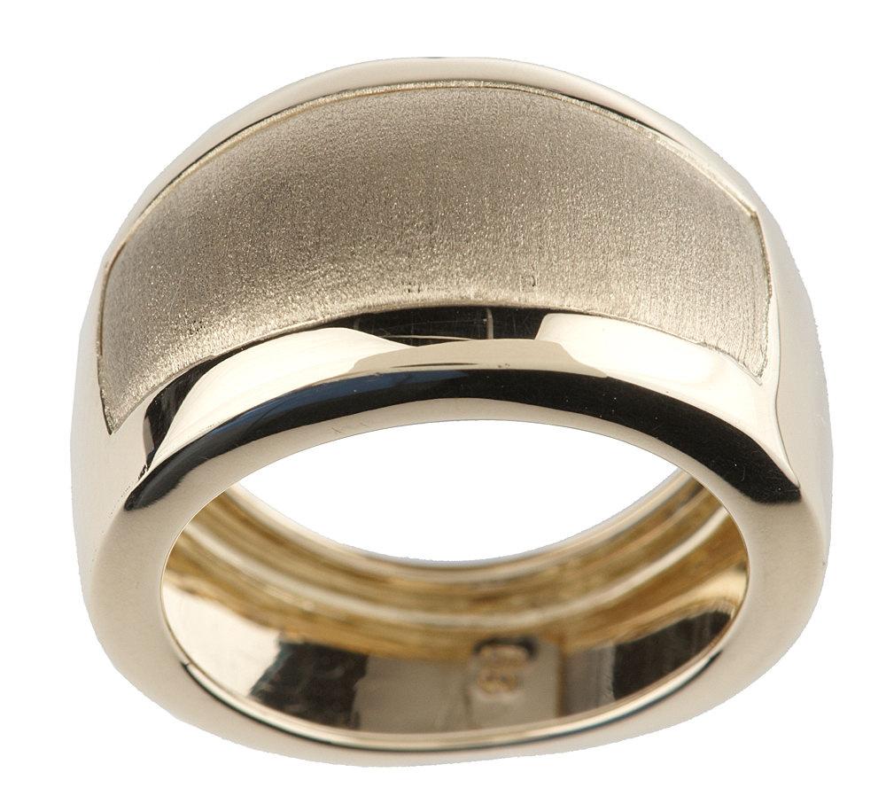 EternaGold Bold Satin Cigar Band Ring 14K Gold Page 1 — QVC