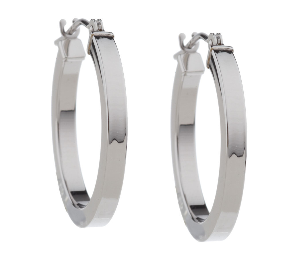 "EternaGold 3 4"" Square Tube Hoop Earrings 14K White Gold Page 1"