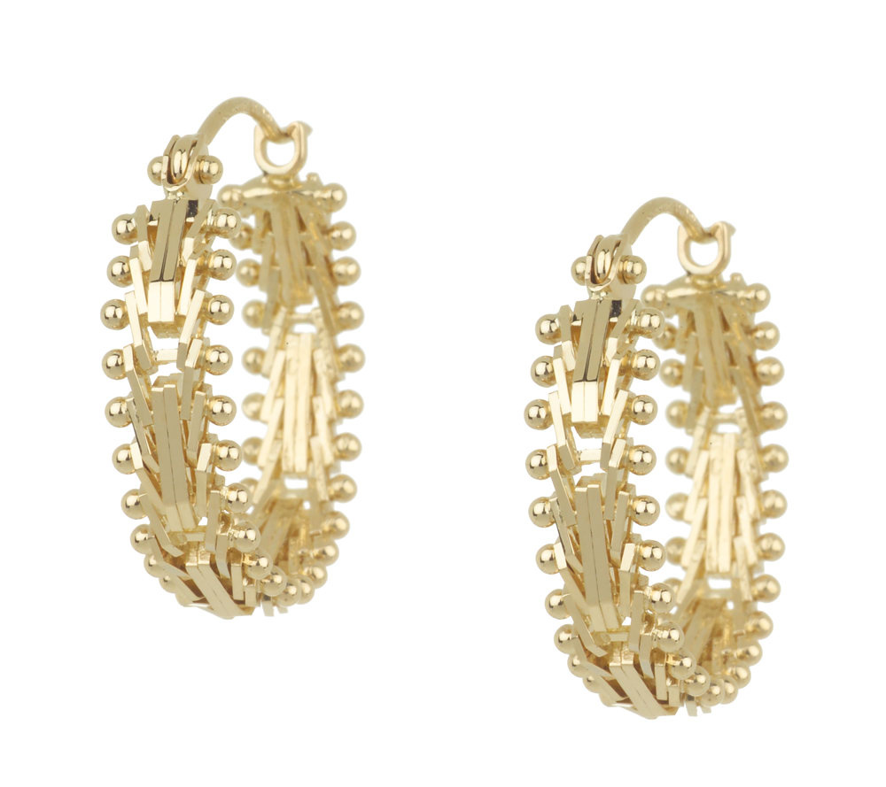 Imperial Gold Mirror Bar Hoop Earrings 14K Gold Page 1 — QVC