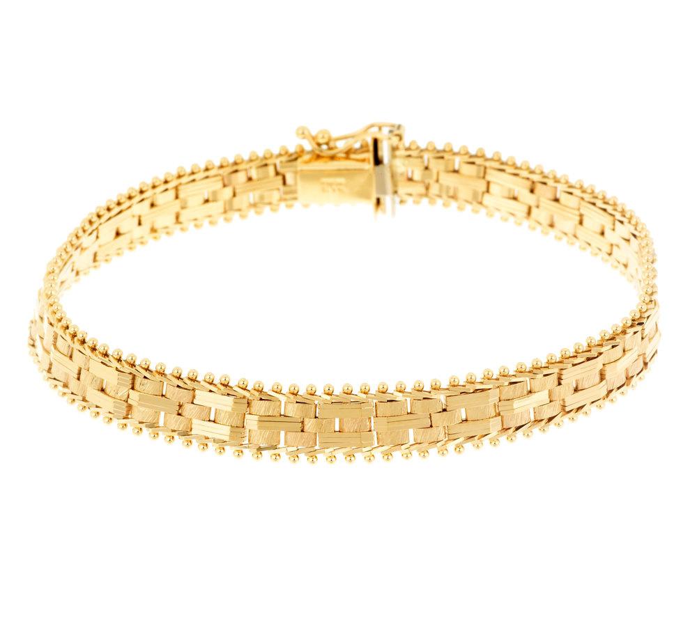 "Imperial Gold 7"" Cobblestone Bracelet 14K Gold 14 5g Page 1"