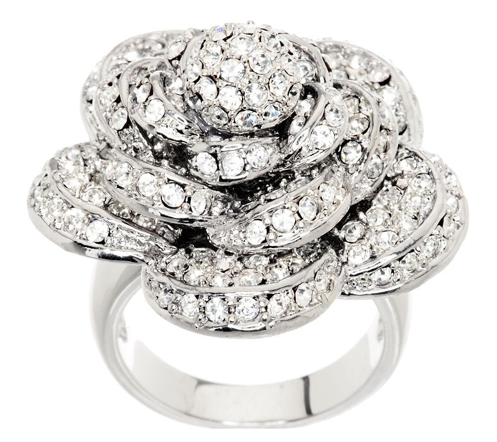 Wendy Williams Dimensional Pave Rose Ring Page 1 QVCcom