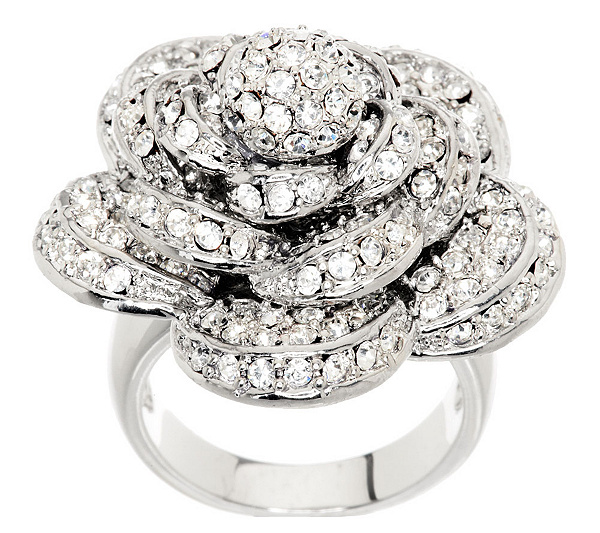 Wendy Williams Dimensional Pave\' Rose Ring - Page 1 — QVC.com
