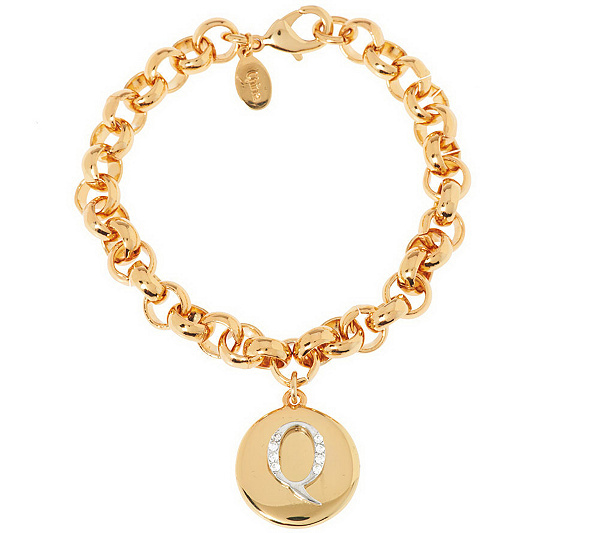 Joan rivers pave initial charm bracelet page 1 qvc mozeypictures Image collections