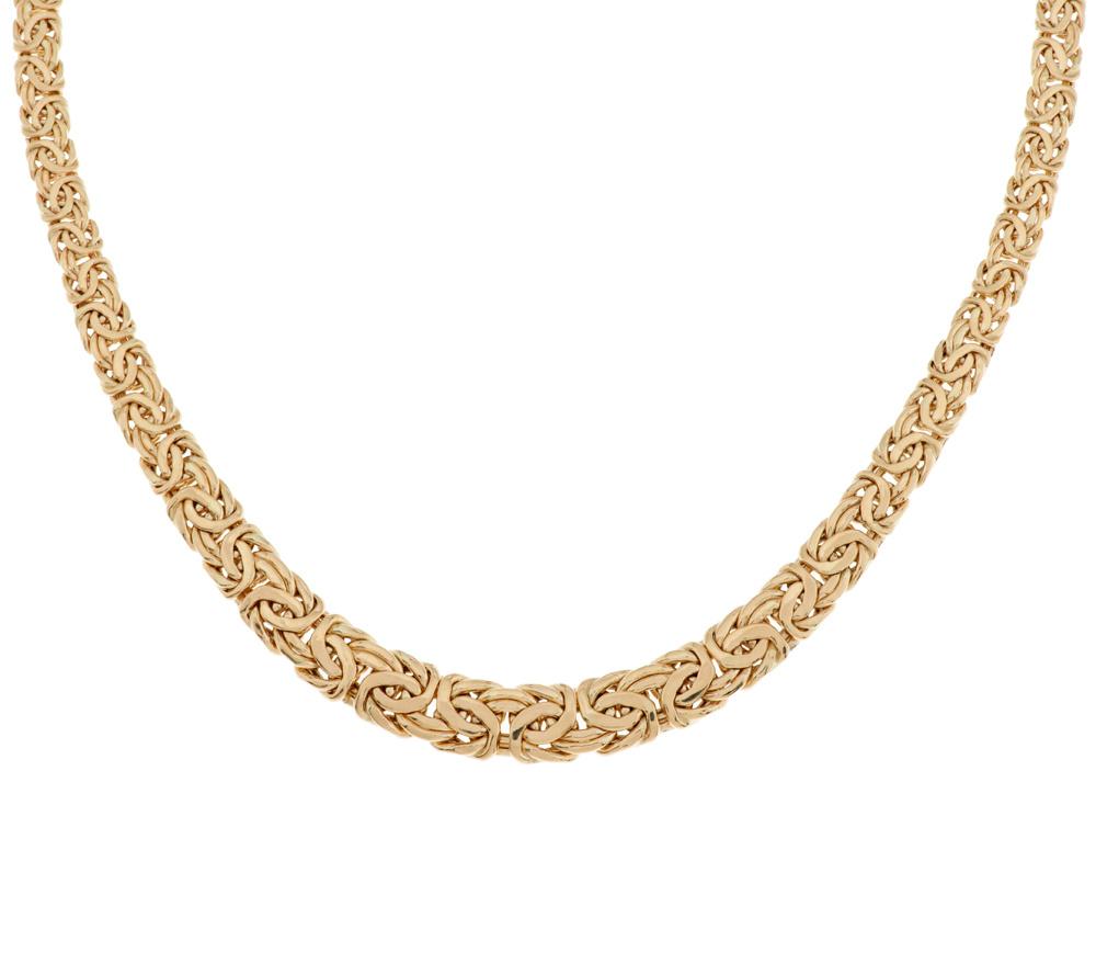 """14K Gold 20"""" Bold Graduated Byzantine Necklace 14 5g Page 1"""