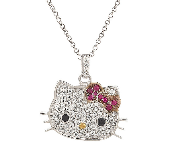 Hello kitty diamonique sterling klassic kitty pendant wchain hello kitty diamonique sterling klassic kitty pendant wchain page 1 qvc aloadofball Image collections