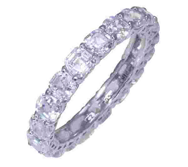 carat cut diamond princess band bands ring full platinum eternity