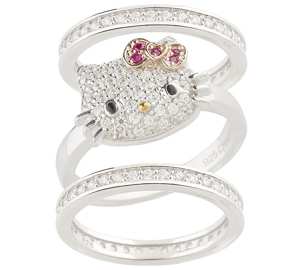 Hello Kitty Diamonique Sterling Luxe Kitty Stack Ring Set Page 1
