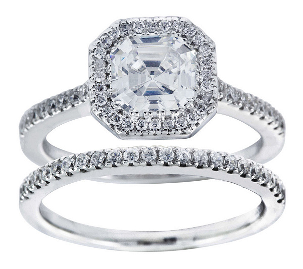 diamonique 225 cttw 2 piece bridal ring set platinum clad page 1 qvc com - Qvc Wedding Rings