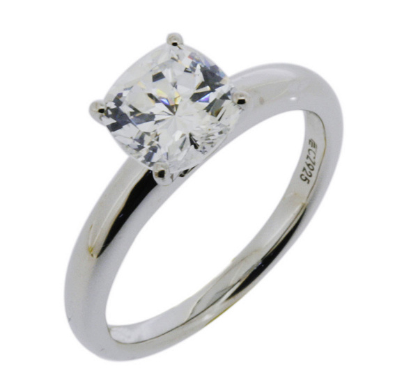 diamonique cushion 100 facet solitaire ring platinum clad j305509 - Diamonique Wedding Rings