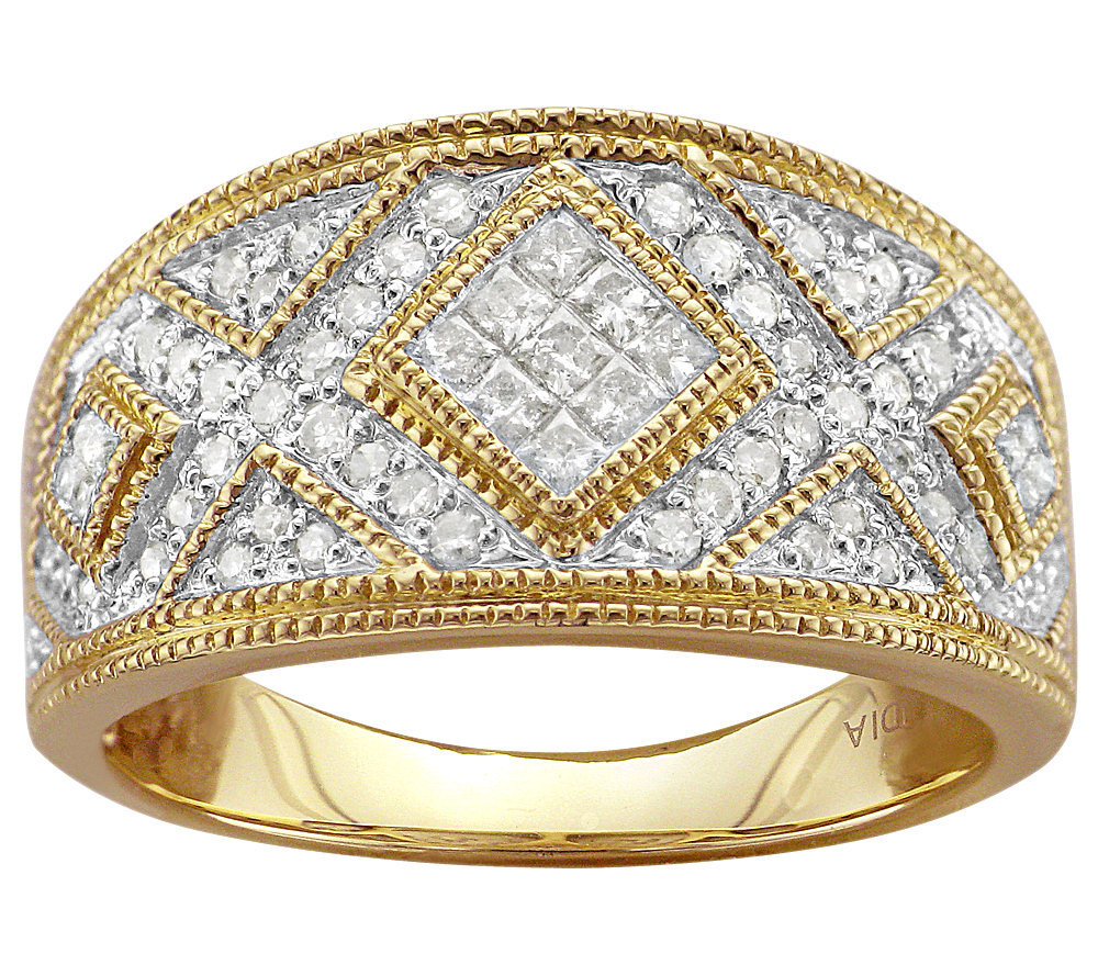 Invisible Setting Diamond Band Ring 14K 1 2 by Affinity — QVC