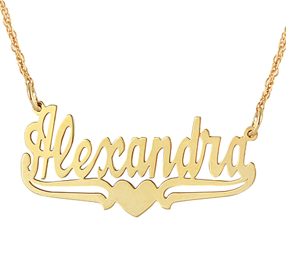 personalized name plate necklace 14k gold page 1 qvc