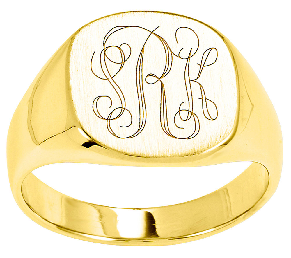 Personalized Satin Cushion Signet Ring 14K Gold — QVC
