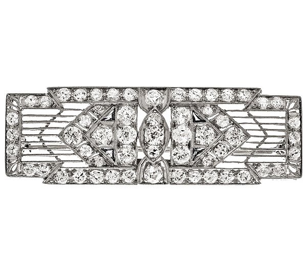 Estate Jewelry Art Deco Platinum 200 Ct Tw Filigree Bar Pin QVC