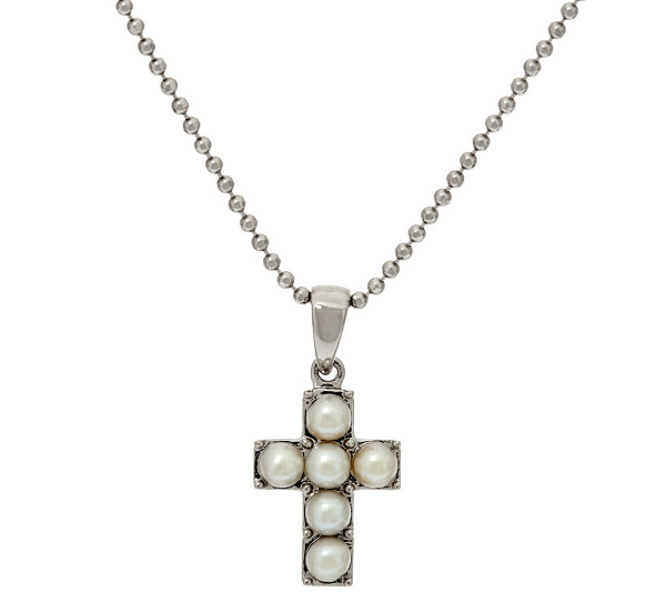 Honora white cultured pearl small sterling cross pendant with honora white cultured pearl small sterling cross pendant with chain page 1 qvc aloadofball Choice Image