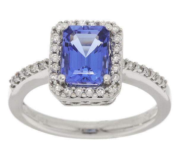 diamond emerald cut and tanzanite pendant w