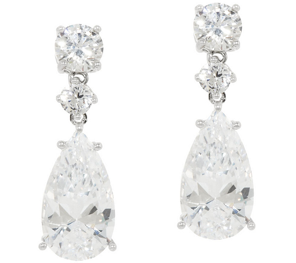 pear white gold drop baguette london carat earrings
