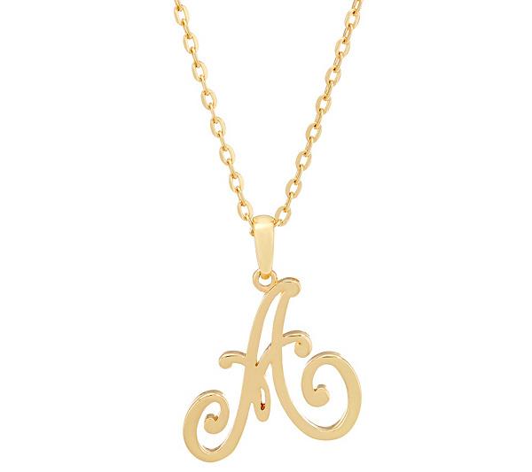 C wonder 32 script initial pendant necklace page 1 qvc aloadofball Gallery