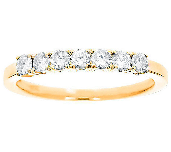 7 stone band diamond ring 14k gold 12cttw byaffinity qvccom - Qvc Wedding Rings