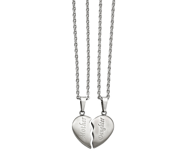 Stainless steel set of motherdaughter pendant necklaces page 1 stainless steel set of motherdaughter pendant necklaces page 1 qvc aloadofball Gallery