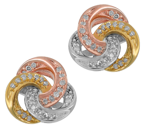 Diamond Knot Stud Earrings 1 5 Cttw Tri Color By Affinity