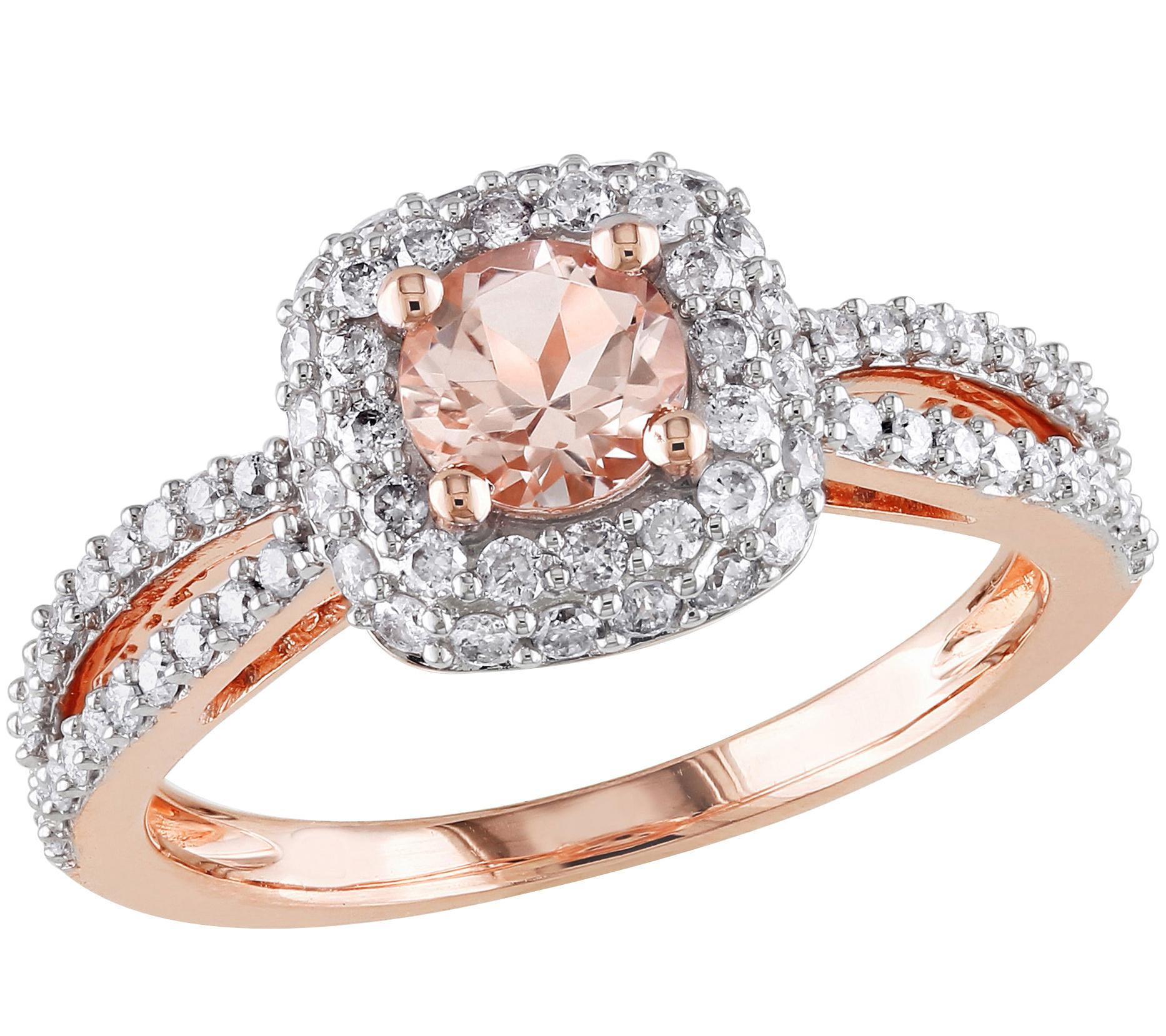Morganite & Diamond Ring 14K Rose Gold — QVC