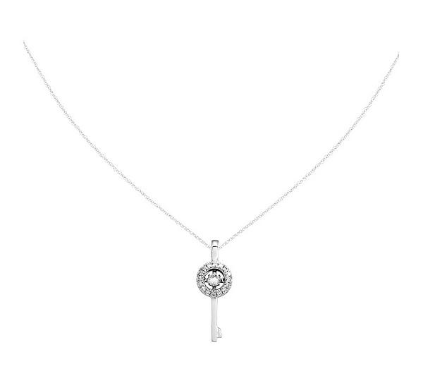 13 cttw diamond key pendant w18 chain 14k qvc mozeypictures Image collections