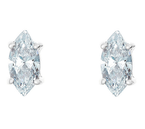 Marquise Diamond Earrings 14kwhite Gold 1 2cttw By Affinity Page Qvc