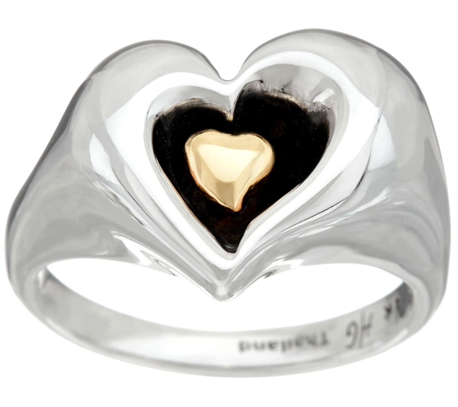 "As Is"" Hagit Sterling Silver &14K Gold Heart Ring Page 1 — QVC"