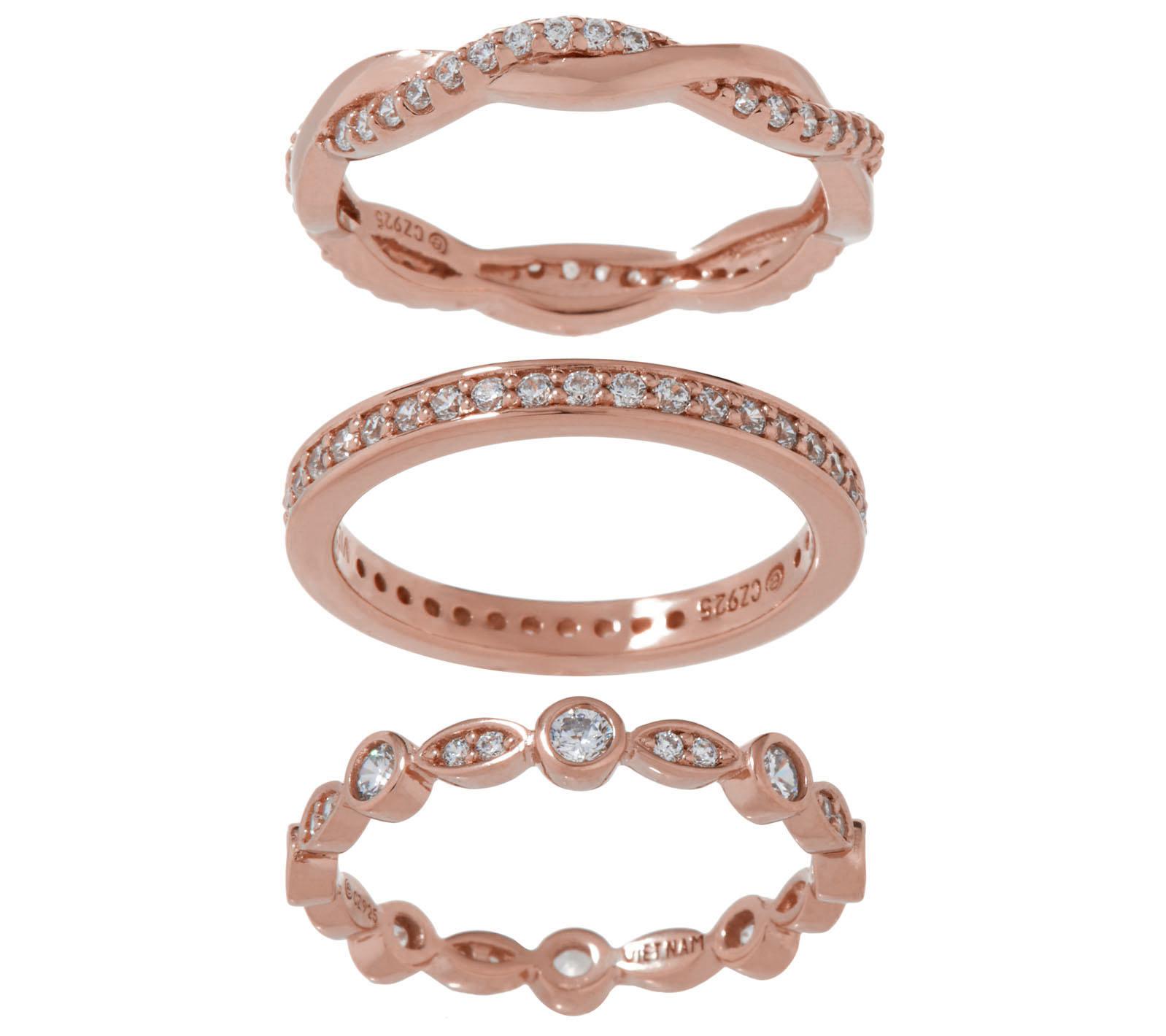 Diamonique Set Of Three Eternity Bands, Sterling Or 14 K Gold Clad by Gold Clad Jewelry