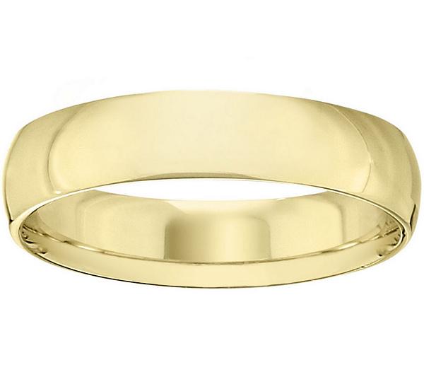 Mens 14K Yellow Gold 5mm Half Round Wedding Band QVC