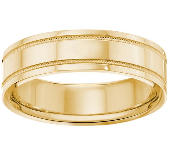 Men s 14K Yellow Gold 6mm Double Milgrain Wedding Band — QVC