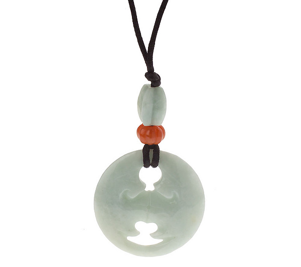Chinese jade moon festival pendant w silk cord page 1 qvc aloadofball Images