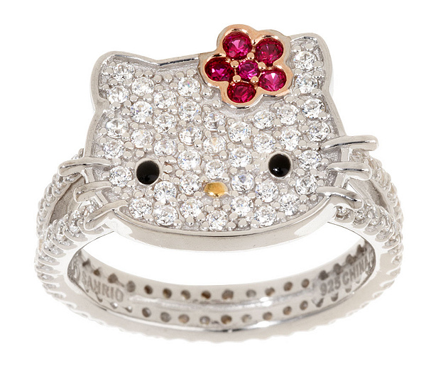 hello kitty diamonique sterling posh kitty ring page 1 qvccom - Hello Kitty Wedding Ring