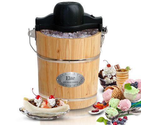 Elite Gourmet 6-qt Old Fashioned Pine Bucket Ice Cream Maker