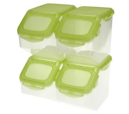 Superb Lock U0026 Lock 4 Piece Flip Top Storage Bin Set W/Colored Lids